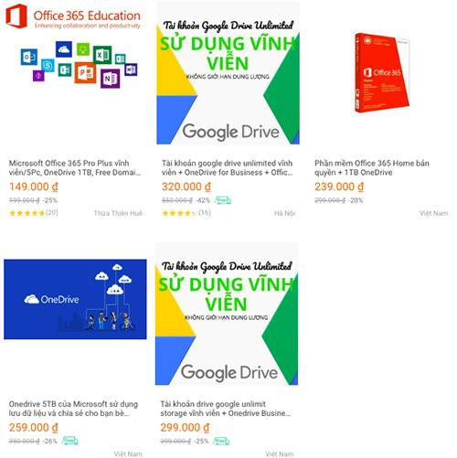 Tài khoản Office365, Google Drive, OneDrive giá chỉ vài trăm nghìn đồng.