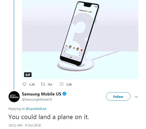 Samsung chế giễu tai thỏ trên điện thoại Pixel 3 XL