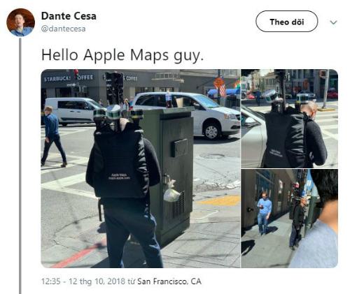 Hình ảnh về nhân viên Apple đeo ba lô thu thập dữ liệu được đăng tải trên Twitter.