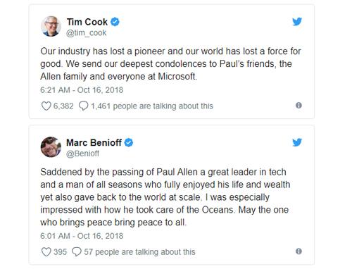 CEO của Apple và Google đánh giá cao những đóng góp của Allen lịch sử công nghệ thế giới.