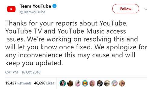 YouTube lên tiếng về sự cố mới nhất.