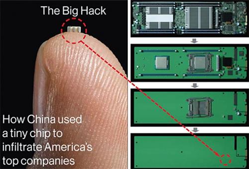 Minh họa của Bloomberg về chip gián điệp nhỏ như hạt gạo của Trung Quốc.