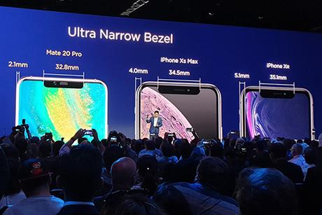 Huawei so sánh viền màn hình của Mate 20 Pro với iPhone Xs Max và Xr. Ảnh: PhoneArena.