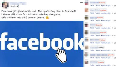 Một trạng thái kêu gọi bình luận để kiểm tra bảo mật tài khoản Facebook.