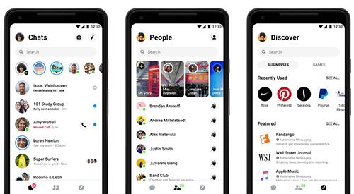 Messenger 4 được phân chia thành ba tab.