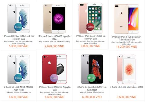 Giá bán của một số mẫu iPhone khóa mạng.