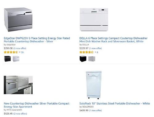 Nhiều loại máy rửa bát mini được rao bán trên các trang thương mại điện tử. Ảnh: Amazon