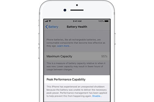 Tùy chọn tắt quản lý hiệu suất trên các mẫu iPhone có pin kém.
