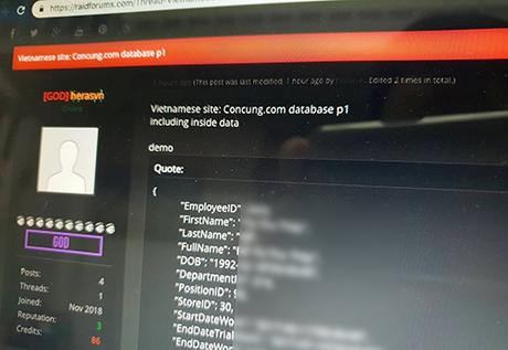 Dữ liệu hacker đăng tải được cho là của một số nhân viên Concung.