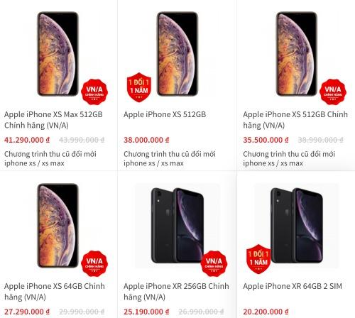 Nhiều cửa hàng bán iPhone XS, XS Max và XR với giá thấp hơn hàng triệu đồng so với mức công bố.