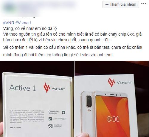 Ảnh được cho là mẫu smartphone Vsmart Active 1 của Vinsmart xuất hiện trên mạng xã hội.