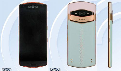 Hình ảnh thực tế của Meitu MP1801 với mặt lưng kiểu điện thoại Vertu. Ảnh: Tenaa.