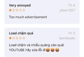 Người dùng phàn nàn khi YouTube có nhiều quảng cáo.