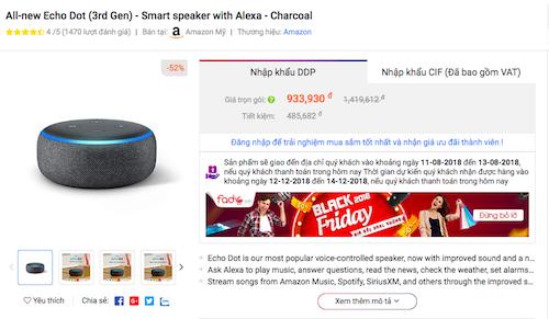 Loa Echo Dot thế hệ mới của Amazon có mức giá cuối cùng đến tay người tiêu dùng Việt chỉ 900.000 đồng.