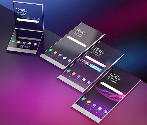 Hình dung về smartphone gập của Sony dựa trên bằng sáng chế. Ảnh: LetsGoDigital