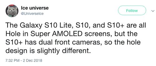Tài khoản Ice Universe cho rằng Galaxy S10 sẽ có nhiều phiên bản.