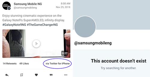 Twitter Samsung Nigeria tạm khóa sau khi đăng tweet bằng iPhone.