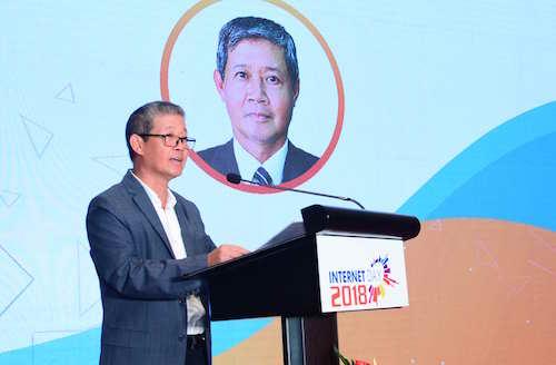Ông Nguyễn Thành Hưng, Thứ trưởng Bộ Thông tin và Truyền thông nhấn mạnh vai trò của hệ sinh thái số tại sự kiện Internet Day.