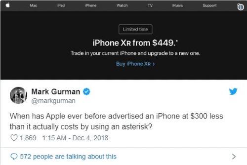 Kể từ khi nào Apple bắt đầu quảng cáo bán một chiếc iPhone với chi phí thấp hơn giá thực tế 300 USD bằng cách sử dụng dấu hoa thị?