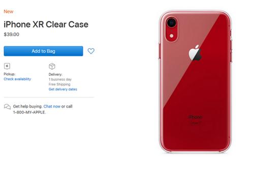 Ốp lưng trong suốt cho iPhone XR được Apple bán trên website của hãng.