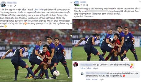Bức ảnh Quang Hải trong vòng vây của các cầu thủ Phlippines gây xúc động với nhiều người hâm mộ.
