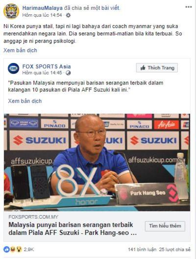 Cổ động viên Malaysia nghi ngờ cả lời khen ngợi của huấn luyện viên Việt Nam dành cho đội nhà.