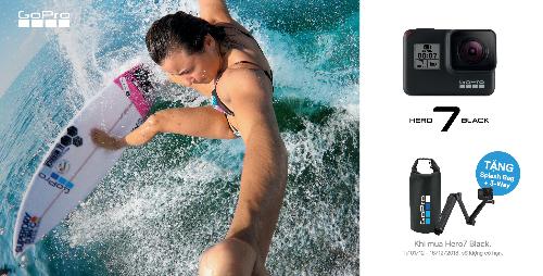 Khách mua GoPro Hero 7 Black trong thời gian 1-16/12 sẽ đượcnhận bộ quà tặng gồm túi đựng thiết bị Splash Bag và gậy tự sướng 3-Way.