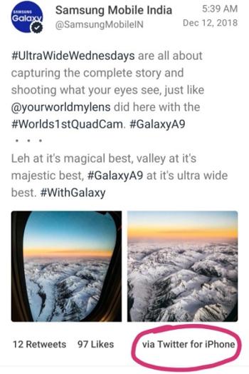 Thông điệp về Galaxy A9 được đăng bằng ứng dụng dành cho iPhone.
