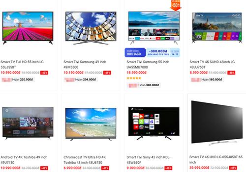 Giá bán củanhiều model TV giảm mạnh.