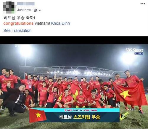 Trận chung kết AFF Cup 2018còn được không ítngười Hàn Quốc theo dõi chia sẻ niềm vui chiến thắng với những người bạn Việt Nam.
