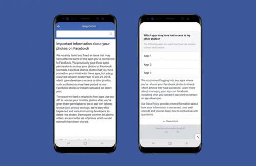 Thông báo của Facebook về lỗi lộ ảnh riêng tư của người dùng.