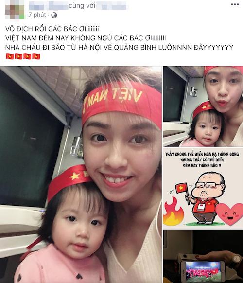Ngay sau khi tiếng còi của kết thúc trận đấu khép lại chiến thắng chung cuộc cho đội tuyển Việt Nam, người dùngInternet đã có những cách chúc mừng khác nhau. Chị Ngọc chia sẻ khoảnh khắc ăn mừng chiến thắng của gia đình nhỏ, trên chuyến xe từ Hà Nội về Quảng Bình.