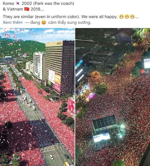 Một người dùng Internet so sánh không khí ăn mừng của Hàn Quốc (2002) và Việt Nam.