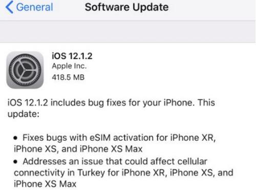 Phiên bản iOS 12.1.2 tập trung sửa lỗi bộ ba iPhone mới nhất.