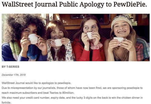 Giao diện Wall Street Journal hiển thị bài với nội dung báo này xin lỗi PewDiePie.