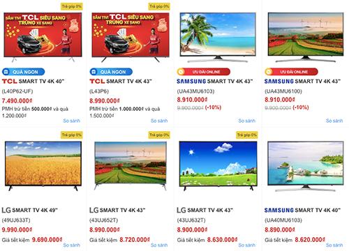 Nhiều mẫu smartTV có giá phải chăng kèm nhiều khuyến mãi.