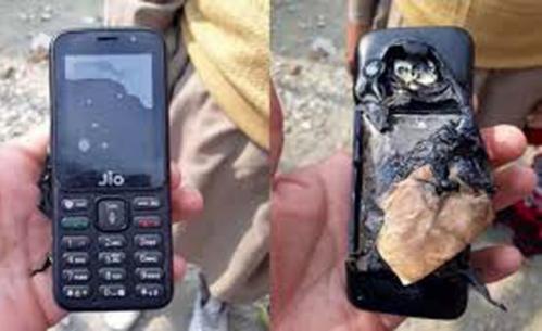 Chiếc điện thoại JioPhone bị nổ tại Ấn Độ. Ảnh GizChina.
