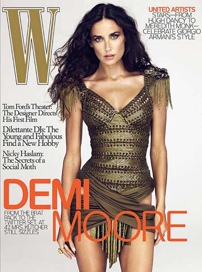 Demi Moore gợi cảm trên trang bìa tạp chí W nhưng có điểm bất thường. Xem đáp án.