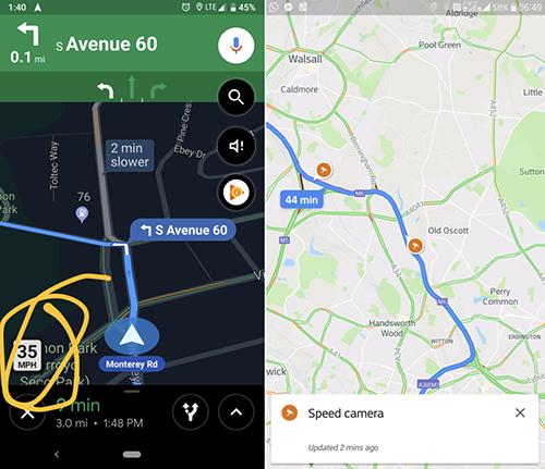 Google Maps cập nhật tính giới hạn tốc độ và điểm bắn tốc độ. Ảnh: AndroidPolice.