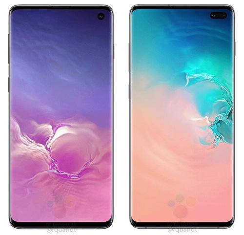 Galaxy S10 (trái) và S10+ với màn hình đục lỗ. Ảnh: WinFuture