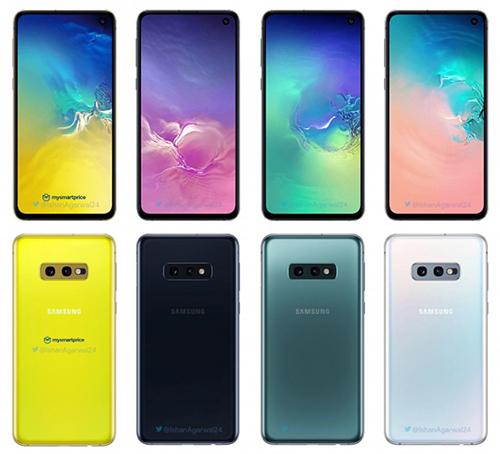 Bốn lựa chọn màu sắc trên Galaxy S10e. Ảnh: Gsmarena