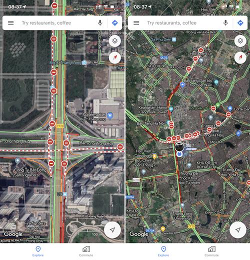 Google Maps thông báo đường cấm và tắc đường sáng nay tại khu vực hầm chui Trung Hòa.