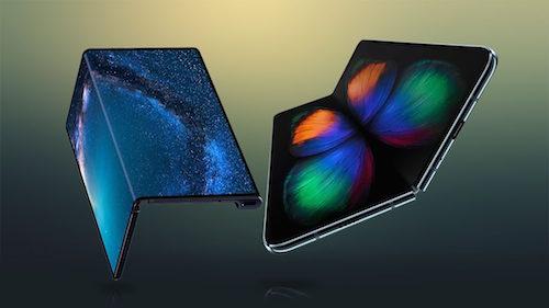 Màn hình Mate X bẻ ngược ra ngoài (trái) còn Galaxy Fold gập vào trong. Ảnh: Geak Culture