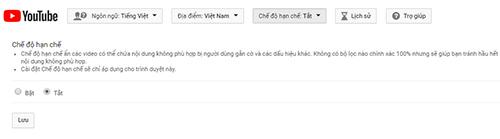 Thông báo về Chế độ hạn chế trên YouTube. Ảnh chụp màn hình