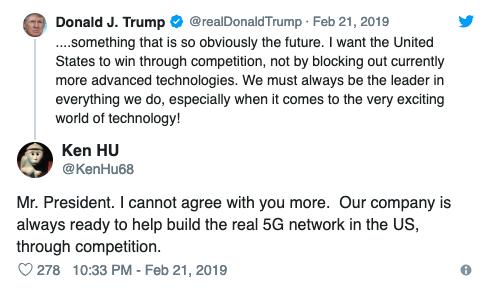 Tweet của ông Trump và phản hồi của đại diện Huawei.