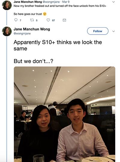 Face Unlock trên Galaxy S10 nhận nhầm hai chị em Jane Wong.