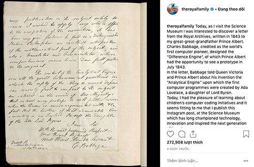 Bài viết của Nữ hoàng Elizabeth II trên Instagram.