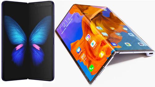 Samsung Galaxy Fold có màn hình gập lại như cuốn sách, còn Huawei Mate X gập ngược ra ngoài.