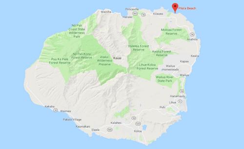 Vị trí khu đất của Zuckerberg trênđảo Kauai.