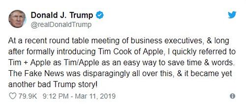 Giải thích của tổng thống Mỹ về việc gọi nhầm tên CEO Apple.